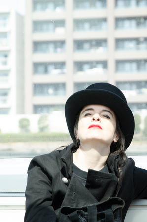 Shibuya, Tokyo  Japan - April 5 2012 : French writer AmŽlie Nothomb poses for pictures in Tokyo, Japan. She visited Tokyo to film her documentary show La Nostalgie heureuse.