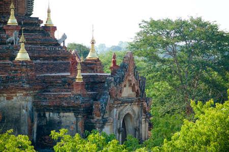 nestled: An ancient pagodas nestled in dense jungle. Bagan, Myanmar