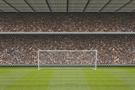 computer generated football stadium stand with crowd, goal posts and football pitch