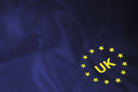 dark blue: flag of Europe stars with UK in the centre on dark blue fabric