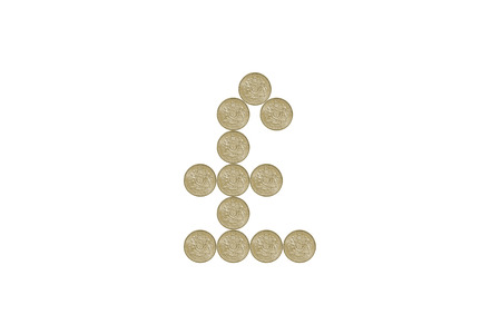 pound sign: Pound Sign made out of one pound coins