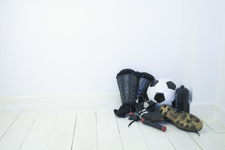 shin: Football equipment, boots, shin pads, football, water bottle and ball pump