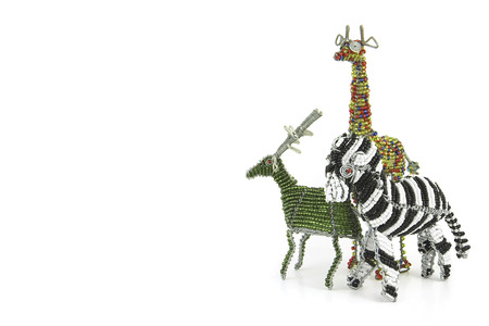 girafe: Wired and beaded African animal Craft of a Zebra, girafe and buck isolated on a white background