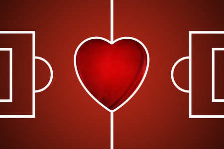 football pitch: digitally illustrated red football pitch with a love heart as the centre circle