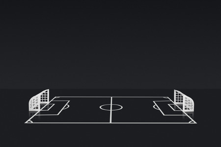 football pitch: Table Top Football Pitch and white Plastic Goal Stock Photo