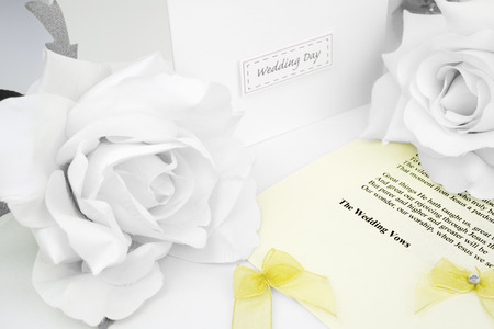 vows: wedding day congratulation cards and wedding ceremony script sheet Stock Photo