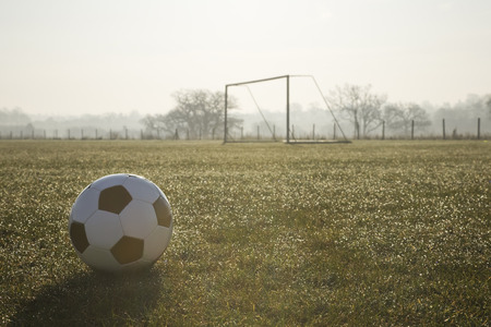 football pitch: black and white football on a empty football pitch, frosty winter morning sunrise