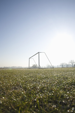 football pitch: empty football pitch and goal on a frosty winter morning sunrise