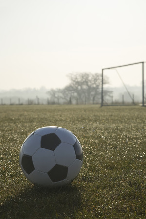football pitch: black and white football on a empty football pitch,frosty winter morning sunrise