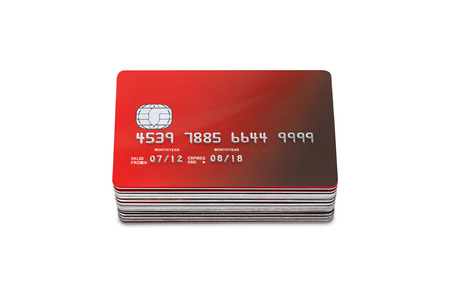 stack of Credit cards and  bank cards on a white background