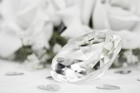 fake diamond: close up of a fake clear glass diamond