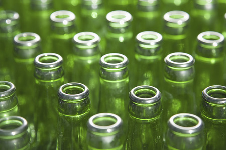 glass bottles: group of green glass bottles