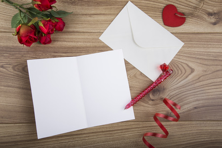 Valentines Day Concept with a white blank valentines card to add copy