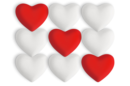 White love hearts with red hearts in a straight row on a white background