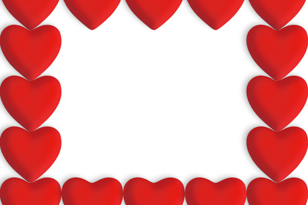Red love hearts with copy space in the centre on a white background