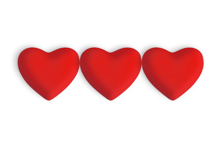 Three Red love hearts on a white background