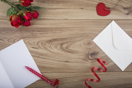 Overhead shot Valentines Day Concept with copy space in the centre