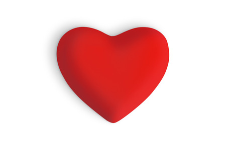 Red love heart on a white background Imagens