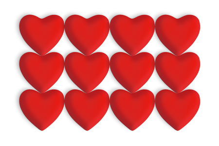 Red love hearts on a white background