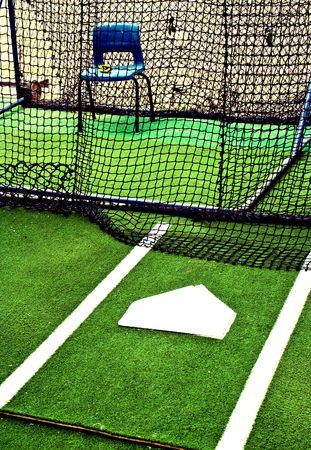 was: This was a photo of an abandoned batting cage.