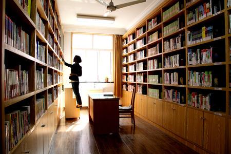 bookshelves: Interior of library