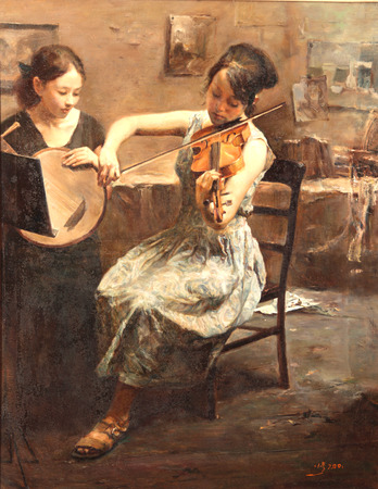Paiting of a girl playing violin Editorial