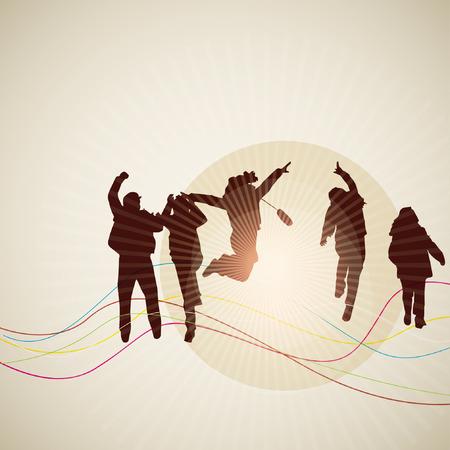 siluetas de personas alegres Ilustración de vector
