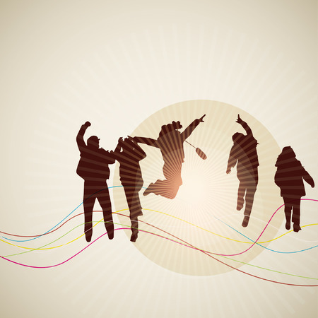 silhouettes of cheerful people