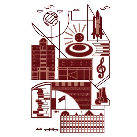 campus: Illustration with campus elements
