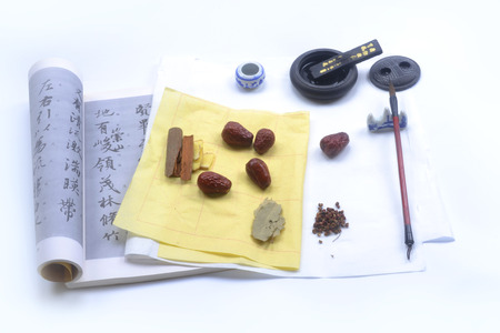 caligraphy: Ingredients on a caligraphy book