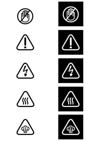 hot surface: Warning Icons- Illustration