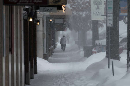 Bend, Oregon December 14, 2016 - Massive snow storm hits Bend, Oregon dropping more than a foot of snow on downtown Bend on December 14, 2016