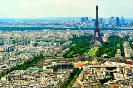 trocadero: An ariel view of the Eiffel Tower and Champ de Mars with the Paris Military Academy (Ecole Militaire) in the foreground and Trocadeo and La Defense in the background.