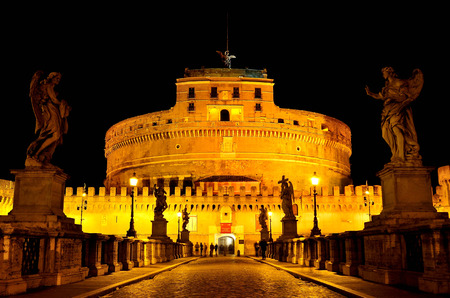 angelo: The Castel Sant Angelo In Rome, Shown At Night