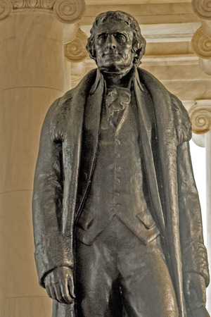 A close up view of the statue of Thomas Jefferson at the Jefferson Memorial, Washington, D.C.