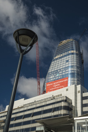 One Blackfriars seen under construction in August 2017. Shot from in front of Blackfriars Station on a sunny day Editorial