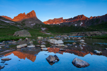 Golden Horn and Vermillion Peak at sunrise within Ice Lakes Basin in Southwest Colorado