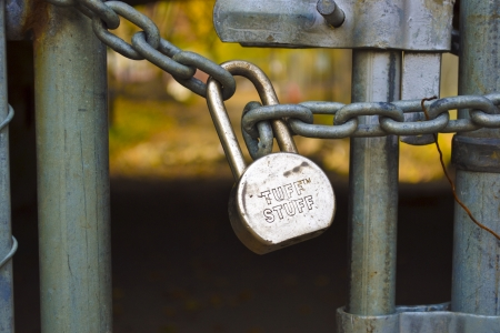 locked in: A locked gate in Central Park New York City