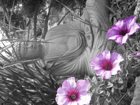 boeddha tussen bloemen