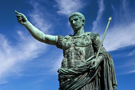 roman soldier: Statue of Emperor Caesar in Rome Stock Photo