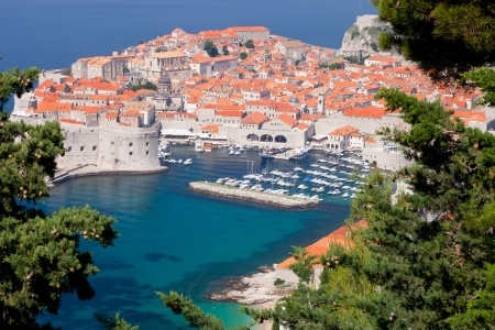 Bright red roofs of buildings in Dubrovnik Old town Croatia Editorial