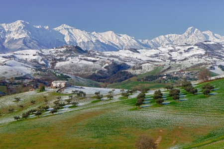 abruzzo: Gran Sasso mountain covered in snow in Abruzzo Italy