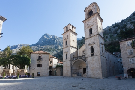 Twin towers of Cathedral of Saint Tryphon in Unesco protected Kotor Montenegro photo