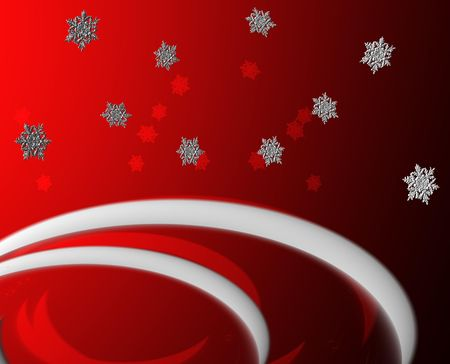 drifts: Red Snow Flakes and Drifts Greeting Stock Photo