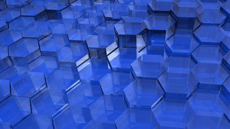 青い半透明の六角形