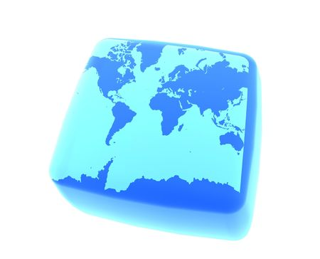 Earth on Gel Cube Banco de Imagens