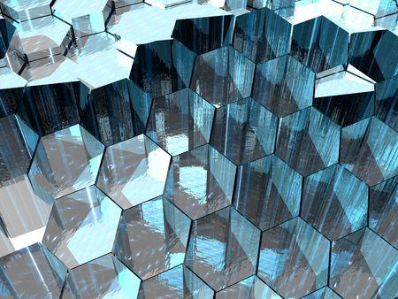 Aqua Hexagons Stock Photo