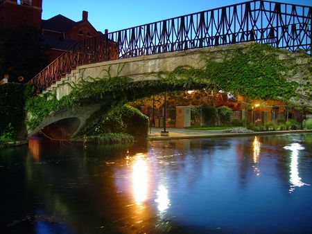 A bridge spanning the canal in Indianapolis.