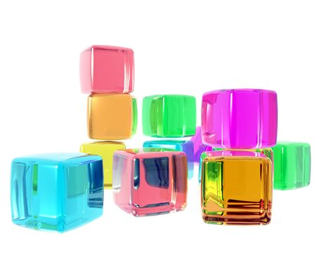 3D computer generate gel cubes of various colors representing diversity, unity and team.