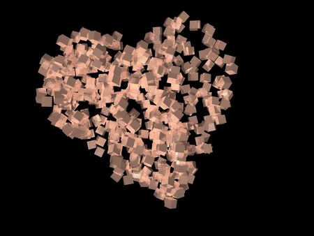 A unique valentineÂ's Day heart created using pink cubic particles, isolated on a black background.